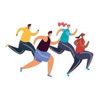 jonge mensen die medische maskers dragen en hardlopen