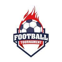 voetbal pictogram met schild en bal in brand