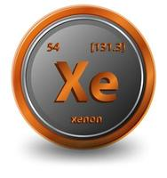 xenon scheikundig element. chemisch symbool met atoomnummer en atoommassa.