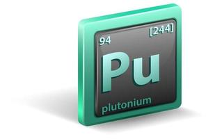 plutonium scheikundig element. chemisch symbool met atoomnummer en atoommassa.