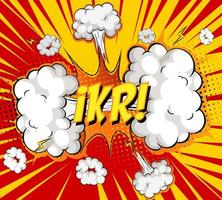 ikr tekst op komische wolk explosie op stralen achtergrond