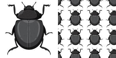 carabidae insect en naadloze achtergrond vector