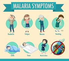 malaria transmissiecyclus en symptoominformatie infographic vector