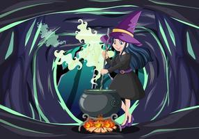 tovenaar of heks met magische pot op donkere grotachtergrond