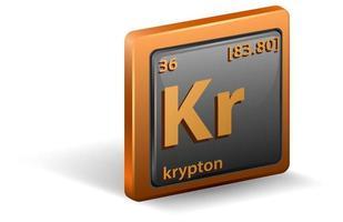 krypton scheikundig element. chemisch symbool met atoomnummer en atoommassa.