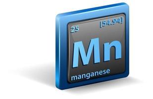 mangaan scheikundig element. chemisch symbool met atoomnummer en atoommassa. vector