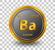 barium scheikundig element. chemisch symbool met atoomnummer en atoommassa.