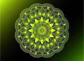 groen sier-, bloemen- en abstract arabesk mandala-ontwerp