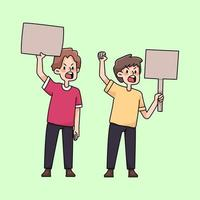 boze mensen verzamelen protest schattige cartoon afbeelding vector