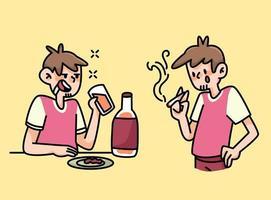 roken en drinken vrouw gewoonten cartoon afbeelding
