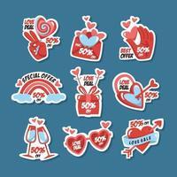 Valentijnsdag promo stickers vector