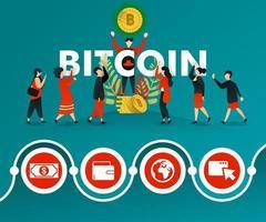 een groep mensen die geïnteresseerd zijn in bitcoin en mannen maken er reclame voor. kan gebruiken voor, bestemmingspagina, sjabloon, ui, web, mobiele app, poster, banner, online promotie, internetmarketing, financiën, handel