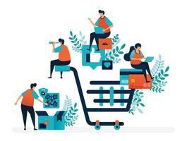 winkelervaring met het vinden van producten, het doen van betalingen en bezorgdiensten. grote winkelwagen. platte vectorillustratie voor bestemmingspagina, web, website, banner, mobiele apps, flyer, poster, ui