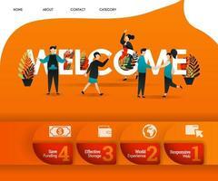 welkomstwoord met een oranje thema en veel mensen in de buurt. kan gebruiken voor, bestemmingspagina, sjabloon, ui, web, mobiele app, poster, banner, flyer, vectorillustratie, online promotie, internetmarketing vector