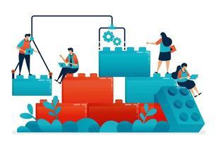 stel legospellen samen voor teamwerk en samenwerking bij het oplossen van werk- en zakelijke problemen. bouwmodel voor leiderschap en partnerschap van kinderen. illustratie van website, banner, software, poster vector