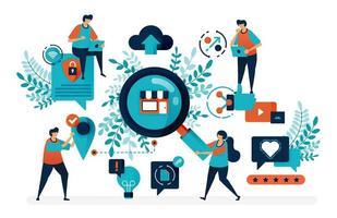 zoek en vind winkellocatie. op zoek naar winkel met gegevensbeveiliging. promoten om klanten te krijgen. platte vectorillustratie voor bestemmingspagina, web, website, banner, mobiele apps, flyer, poster vector
