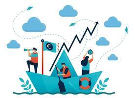 leiderschap in leiden en organiseren. origami papieren schip. motivatie en competitie in carrière. doel en doel stellen. teamwork en samenwerking. illustratie voor visitekaartje, banner, brochure, flyer vector