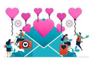 liefdesbrief voor paar op Valentijnsdag, huwelijk, verloving. roze hartballon voor succes in romantische relatie. decoratie van geluk illustratie van website, spandoek, poster, uitnodiging, kaart vector