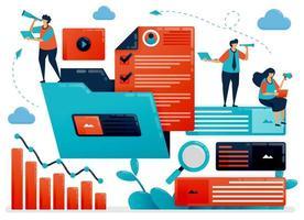 het beheren van de werkmap om de bedrijfsprestaties te stroomlijnen. Organiseer documenten en gegevens in mappen om de bedrijfsgroei te vergroten. platte stripfiguur voor bestemmingspagina, website, mobiel, flyer, poster vector