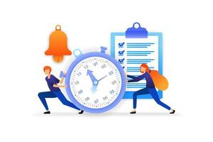 tijd bepalen en beheren. voltooi deadlines om het bedrijf te stroomlijnen. snelheid voor succesvolle carrières. vector illustratie concept voor, bestemmingspagina, web, ui, spandoek, poster, sjabloon, achtergrond