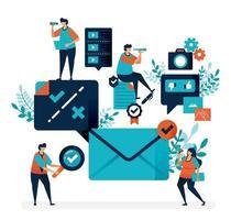 verificatie en melding om e-mail te ontvangen. vink aan of kruis selectie om een bericht te beantwoorden. eenvoudig vinkje symbool vectorillustratie voor bestemmingspagina, web, sjabloon, mobiele apps, ui, flyer, poster