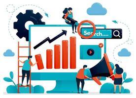 optimaliseer seo met reclame- en planningsstrategieën. internet bedrijfsontwikkeling en onderzoek. marketing en promotie. platte menselijke vectorillustratie voor bestemmingspagina, website, mobiel, poster vector