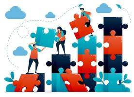 teamwork en samenwerking door puzzels op te lossen. metaforen begrijpen zakelijke grafiek. samenwerken voor bedrijf. uitdagingen en problemen. vectorillustratie, grafisch ontwerp, kaart, banner, brochure, flyer