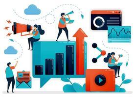 optimalisatie en ontwikkeling van bedrijfsgroei met reclame en promotie. internetmarketingstrategie, planning en analyse. platte menselijke vectorillustratie voor bestemmingspagina, website, mobiel, poster vector