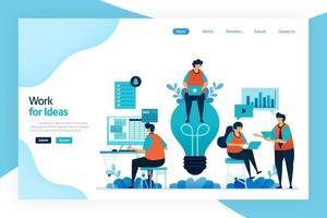bestemmingspagina van werk voor idee. werknemer werken en bespreken om de bedrijfsprestaties, diensten en financieel gewin te verbeteren. groot idee voor het oplossen van problemen en het beheren van risico's. ontworpen voor website, mobiele apps