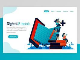 vectorillustratie voor de bestemmingspagina van het digitale e-boek. mobiele apps voor lezen, schrijven, studeren. modern bibliotheekplatform. online leren, taalonderwijs. homepage koptekst webpagina sjabloon apps vector