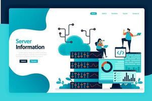 serverinformatie bestemmingspagina-ontwerp. regelen informatiestroom in database, datacenter, big data, serverruimte, analyseren van statistieken. vectorillustratie voor poster, website, flyer, mobiele app vector