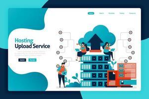 ontwerp van bestemmingspagina voor hosting uploadservice. netwerkuploaddatabase naar serverservices, cloud, hosting. gegevensback-up en toegangsbescherming. vectorillustratie voor poster, website, flyer, mobiele app vector