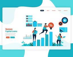 vectorillustratie van risicokapitaalleningen voor de ontwikkeling en investeringen van het MKB. lage rentekrediet voor jonge ondernemers en startende bedrijven. voor website, bestemmingspagina, banner, mobiele apps, flyer vector