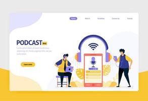 bestemmingspagina vector platte ontwerp illustratie van podcast-uitzendingen. internettechnologie, modern openbaar interview en onlinerapportage met audio. voor websites, mobiele apps, banner, flyer, brochure