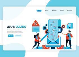 vector homepage voor het leren van programmeren en coderen. applicatieontwikkeling met een eenvoudige programmeertaal. vlakke afbeelding voor bestemmingspagina, sjabloon, ui ux, web, mobiele app, banner, flyer