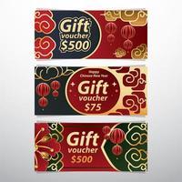voucher gift card concept voor Chinees Nieuwjaar vector