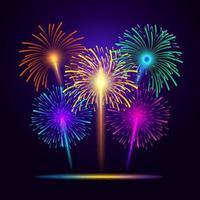 5 kleurvarianten van vuurwerk vector