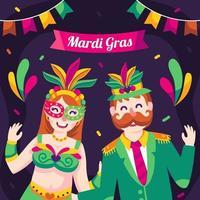 paar op mardi gras braziliaans festival vector