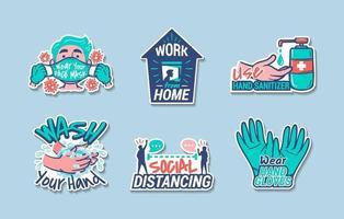 nieuw normaal protocol in stickers voor het dagelijks leven