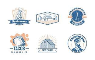 vintage logo van restaurant, landbouw en kapperszaak vector