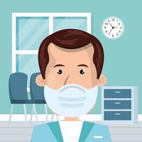 arts man met gezichtsmasker in de kamer raadplegen