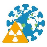 wereldplaneet met deeltjes covid 19 en nucleair waarschuwingssignaal