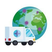 wereldplaneet met deeltjes covid 19 en ambulance