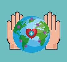 handen en wereldplaneet met deeltjes covid 19