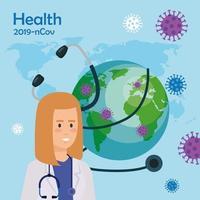 dokter vrouw en wereld planeet met deeltjes covid 19