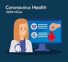 geneeskunde online technologie met laptop en vrouwelijke arts vector
