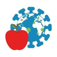 wereldplaneet met deeltjes covid 19 en appel