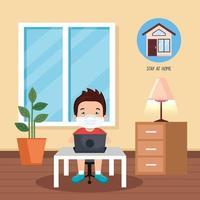 blijf thuis-campagne met jongen die online studeert