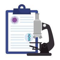 microscoop met deeltjescovid 19 in klembord en dna-structuur