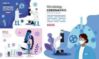 poster van microbiologie instellen voor covid 19 en medische pictogrammen vector